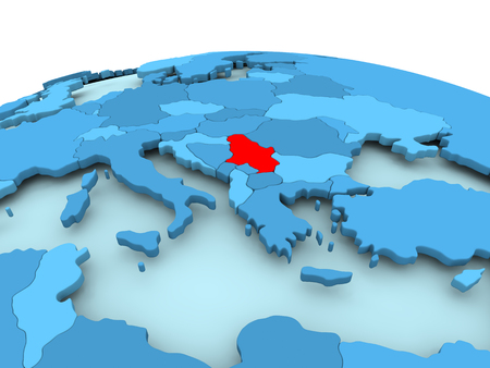 Map of Serbia in red on blue political globe. 3D illustration. Stock Photo