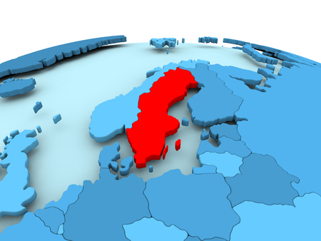 Map of Sweden in red on blue political globe. 3D illustration. Stock Photo