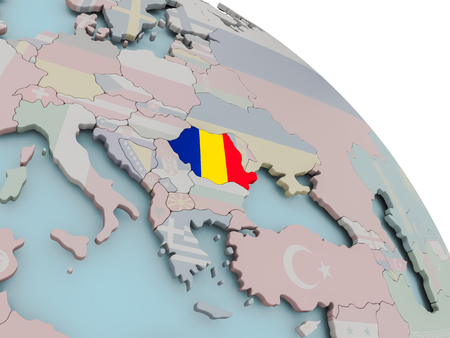 Illustration of Romania on political globe with embedded flags. 3D illustration.