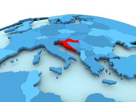 Map of Croatia in red on blue political globe. 3D illustration.