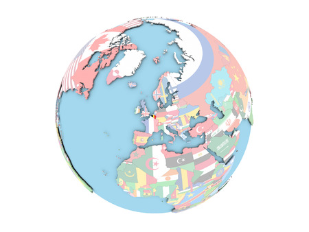 Belgium on political globe with embedded flags. 3D illustration isolated on white background.