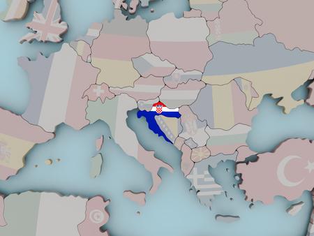 Croatia with national flag on political globe. 3D illustration. Stock Photo