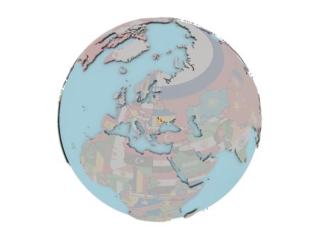 Moldova on political globe with embedded flags. 3D illustration isolated on white background.