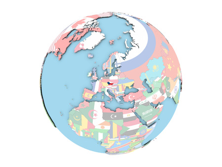 embedded: Czech republic on political globe with embedded flags. 3D illustration isolated on white background.