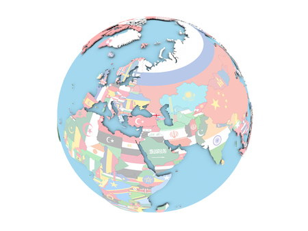 Georgia on political globe with embedded flags. 3D illustration isolated on white background.