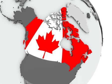 Canada on political globe with embedded flag. 3D illustration.