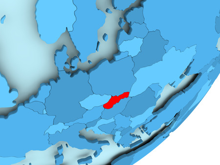 Slovakia in red on blue political globe. 3D illustration.