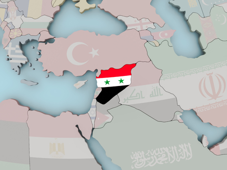 Syria with national flag on political globe. 3D illustration.