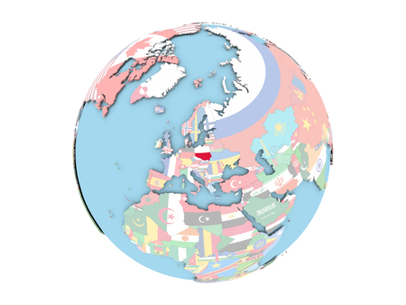 Poland on political globe with embedded flags. 3D illustration isolated on white background. Stock Photo