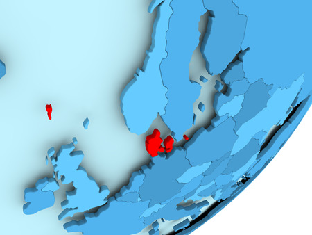 Denmark in red on blue political globe. 3D illustration.