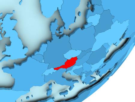 青の政治世界の赤でオーストリア。3 D イラスト。