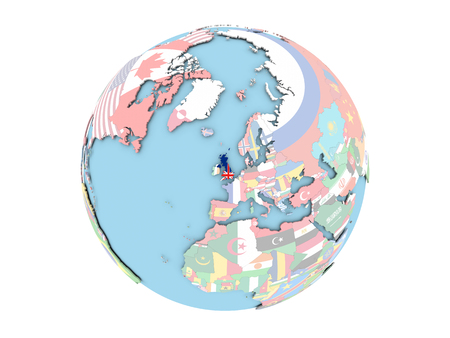 great: United Kingdom on political globe with embedded flags. 3D illustration isolated on white background. Stock Photo