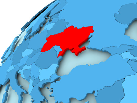 Ukraine in red on blue model of political globe. 3D illustration.