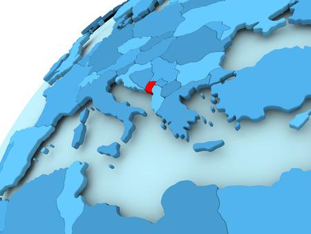 Montenegro in red on blue model of political globe. 3D illustration.