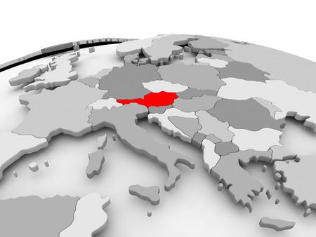 オーストリア政治世界のグレー モデルの赤。3 D イラスト。