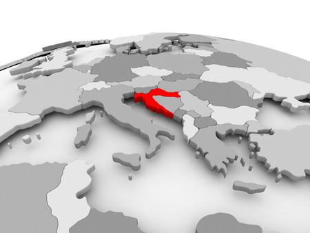 Croatia in red on grey model of political globe. 3D illustration.