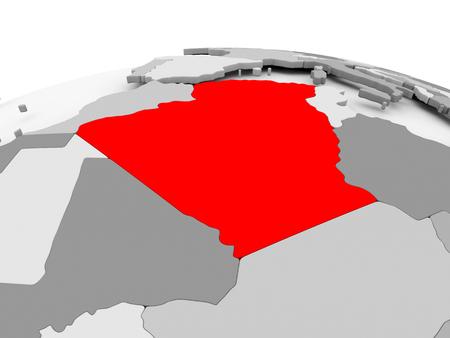 Algeria in red on grey model of political globe. 3D illustration.