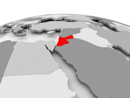Jordanië in het rood op grijs model van de politieke wereld. 3D illustratie.