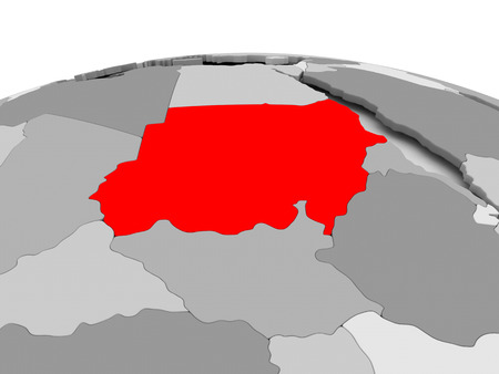 Soedan in het rood op grijs model van de politieke wereld. 3D illustratie. Stockfoto