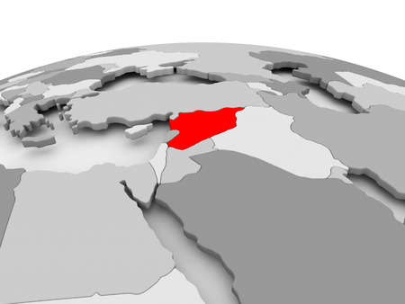 Syria in red on grey model of political globe. 3D illustration. Stock Photo