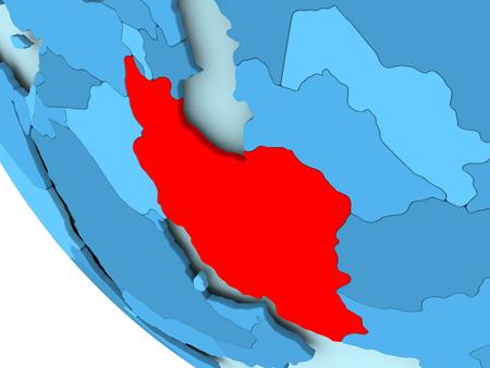 Iran gemarkeerd in het rood op blauwe politieke wereld. 3D illustratie. Stockfoto