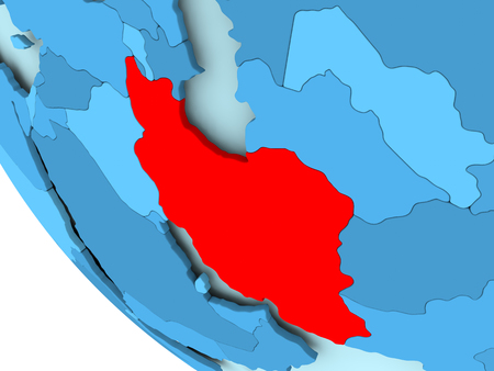 Iran highlighted in red on blue political globe. 3D illustration. Stock Photo