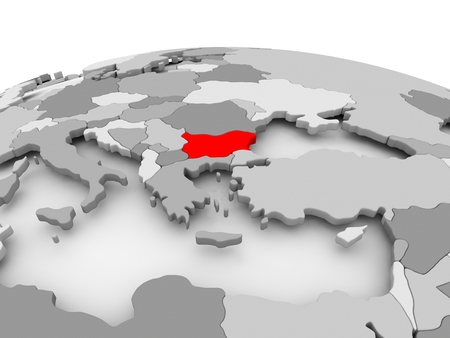 Bulgaria in red on grey model of political globe. 3D illustration. Stock Photo