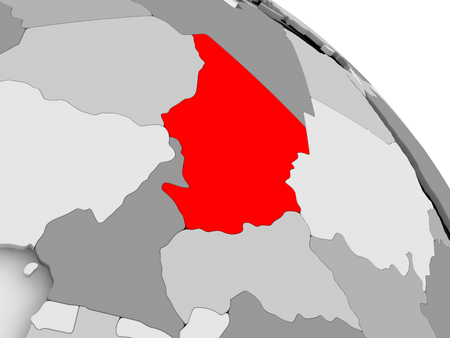 3D render of Chad in red on grey political globe. 3D illustration.