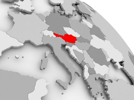 3 D レンダラ ・ オーストリアの灰色の政治世界の赤で。3 D イラスト。