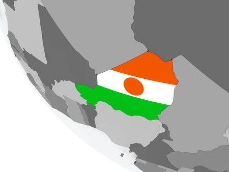 Niger on political globe with embedded flags. 3D illustration.