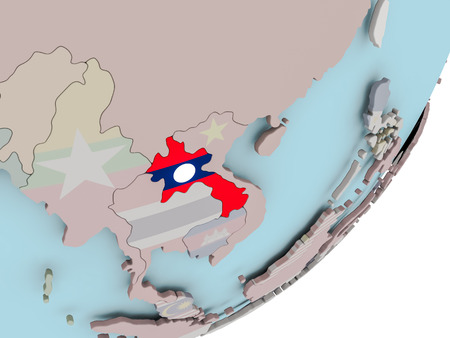laotian: 3D render of Laos on political globe with embedded flag. 3D illustration.