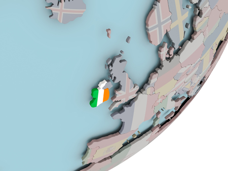 ireland flag: 3D render of Ireland on political globe with embedded flag. 3D illustration.