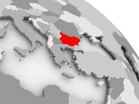 3D render of Bulgaria in red on grey political globe. 3D illustration. Stock Photo