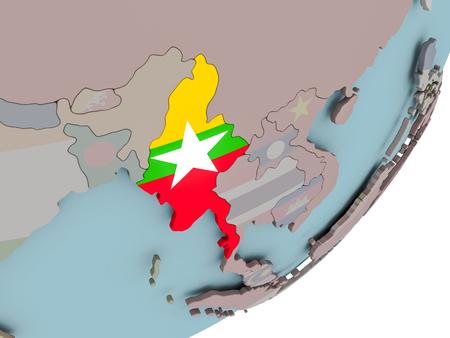 3D render of Myanmar on political globe with embedded flag. 3D illustration.
