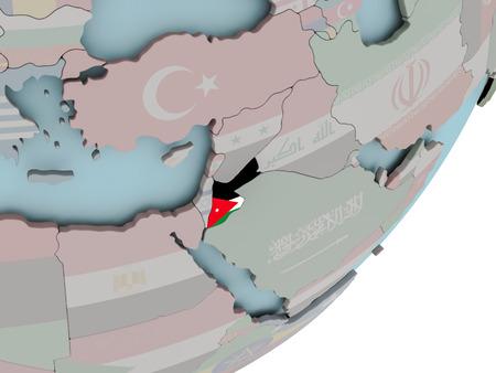 3D geef van Jordanië op politieke bol met ingebedde vlag terug. 3D illustratie. Stockfoto