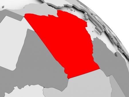 3D render of Algeria in red on grey political globe. 3D illustration.