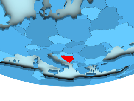 Illustration of Bosnia and Herzegovina highlighted in red on blue globe. 3D illustration.