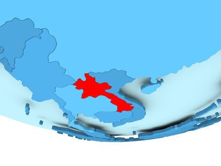 Illustration of Laos highlighted in red on blue globe. 3D illustration.