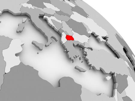 3D render van Macedonië in rood op grijze politieke wereld. 3D illustratie. Stockfoto - 85772798