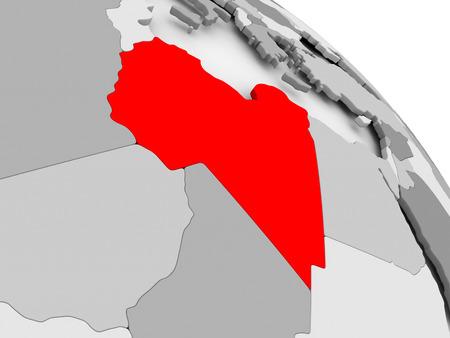 3D render van Libië in het rood op grijze politieke wereld. 3D illustratie. Stockfoto