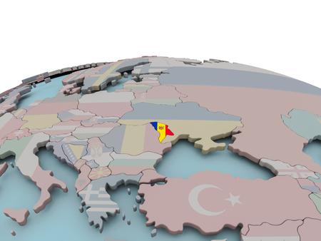 Moldova with national flag on political globe. 3D illustration. Stock Photo