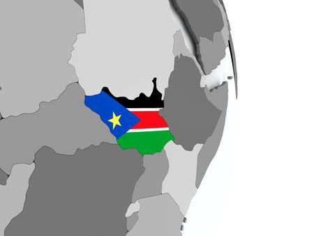 남 수단 플래그 포함 된 정치 지구에. 3D 그림입니다. 스톡 콘텐츠