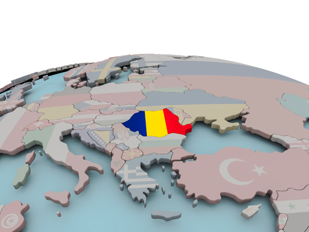 Romania with national flag on political globe. 3D illustration. Imagens