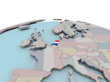 Nederland met nationale vlag op politieke wereld. 3D illustratie.