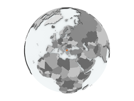 Macedonia on political globe with embedded flags. 3D illustration isolated on white background.