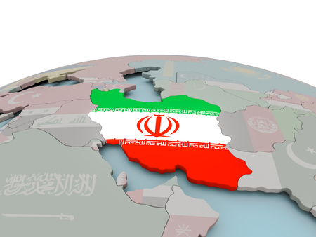Iran met nationale vlag op politieke wereldbol. 3D illustratie. Stockfoto