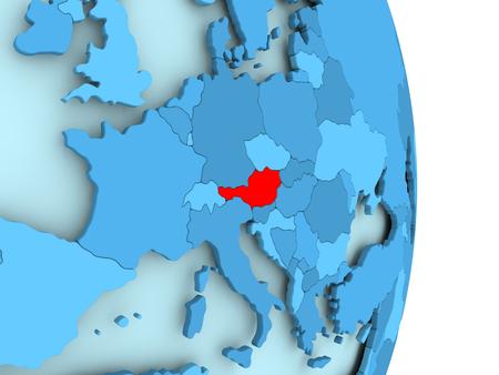 目に見える国境を持つシンプルな青い政治の地球儀に赤のオーストリア。3D イラスト。