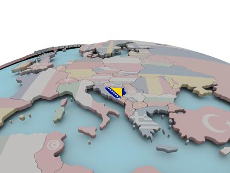 Bosnia with national flag on political globe. 3D illustration.