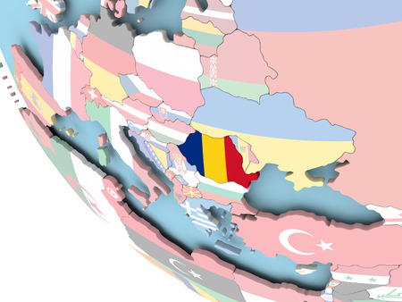 Romania on bright political globe with embedded flag. 3D illustration.