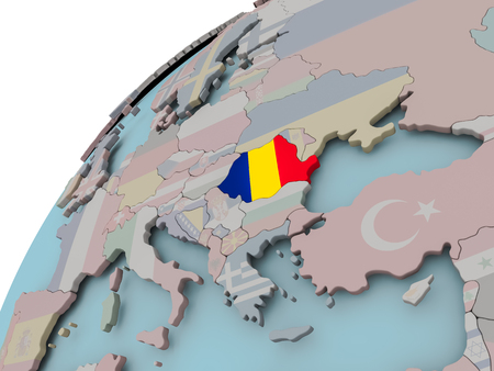 Romania on political globe with embedded flags. 3D illustration.